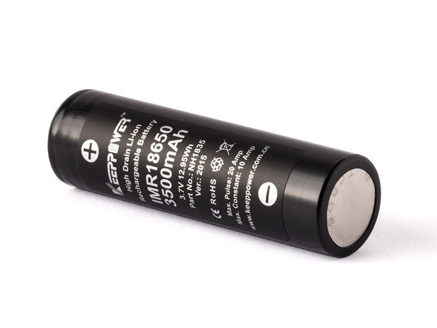 Keeppower IMR18650 - 3500mAh 3,6 - 3,7V, Flat Top 10A Lithium Ionen Li-ion Akku