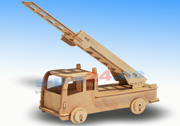 31cm 23 Teile Holzbausatz Feuerwehrauto